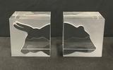 Steuben Bear & Bull Cube Paperweights - 2½