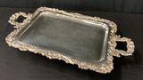 Queen Victoria Silverplated Double-Handled Serving Tray On Legs W/ Gadroon