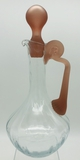 Glass Claret Jug W/ Satin Glass Handle & Stopper