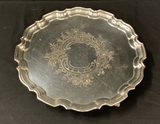 Silverplated Serving Tray W/ Beveled Edge, Chased Center & Elegant Ball & C