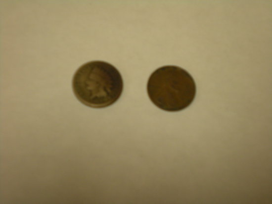 Indian Head cent 1860 copper-nickel & 1909 Lincoln