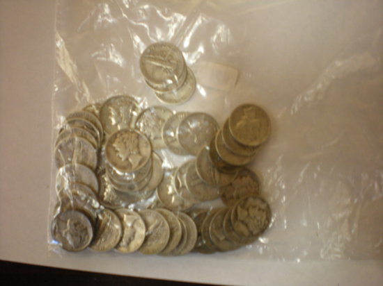 Silver Mercury Dimes from the 40's all mints
