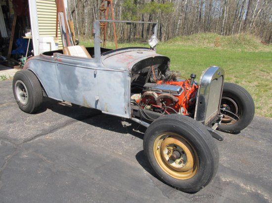 1930 Ford Md. A 2 Door Roadster, body & most of running gear there, Chevy 265 engine, no seats or da