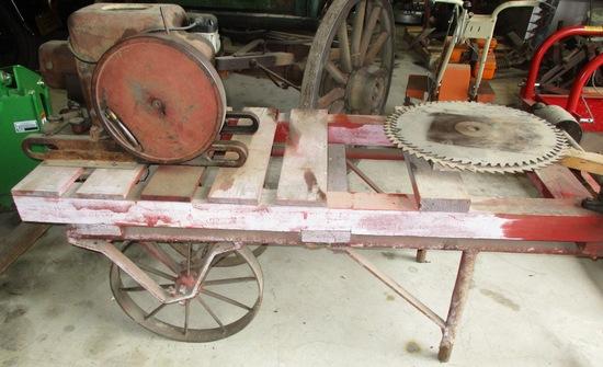 IH Stationary Engine Combination Saw Rig On Steel Wheels 1.5-2.5 HP Engine Loose