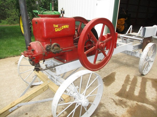 Galloway 9HP Staionary Engine Saw Rig On Steel Wheels ser.311120