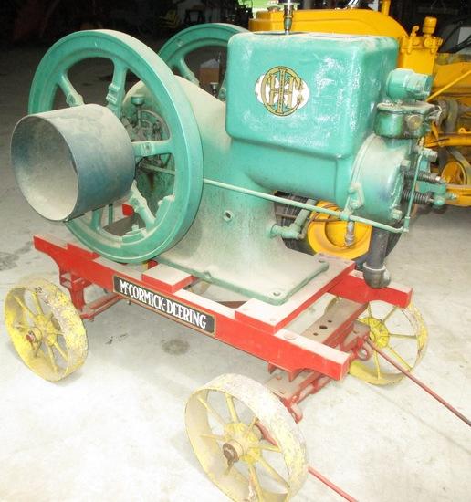 IH McCormick Deering 6 HP Staionary Engine On Steel Wheel Cart Engine Loose
