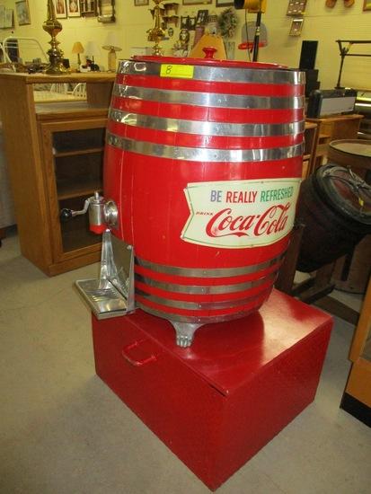 Coca Cola barrel keg 1950's on stand with original compressor inserts, lid & aluminum feet