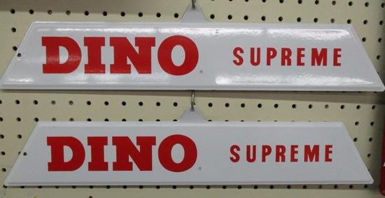 Dino Supreme gas pump plate signs