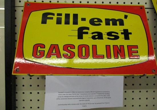 Fill em Fast Sign South US Gas Station Porcelain