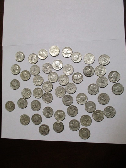 Silver Washington 25 cent most 30's & 40's (50 coins)