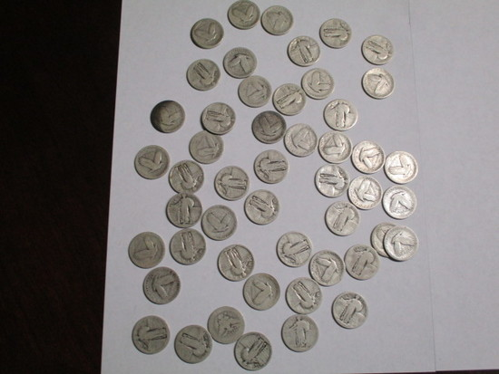 Silver Standing Liberty & Barber 25 cent no dates (50 coins)