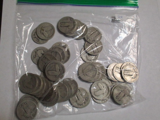 Silver Standing Liberty 25 Cent No Date (50 Coins)