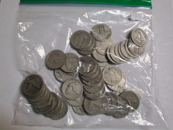 Silver Standing Liberty & Barber 25 cent No Date (50 Coins)