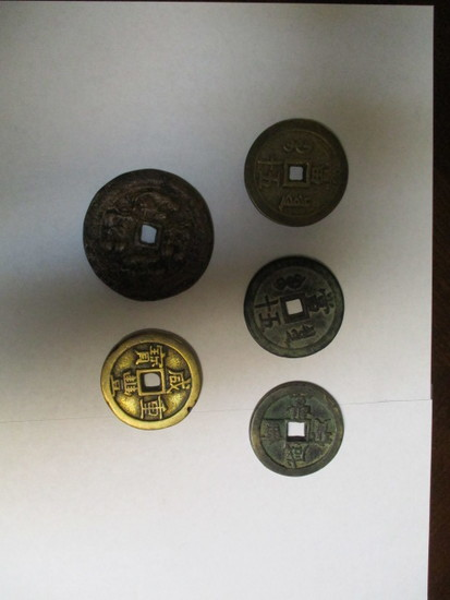 Ancient Chinesse bronze coins very large, heavy 5 coins