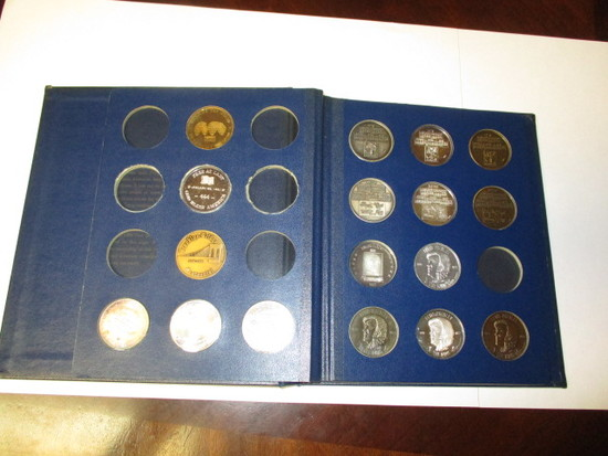 US Postal history medals 23 coins at least 3 are 1 OZ silver & Elvis Presley medals