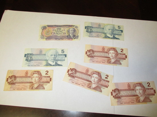 Obsolete Canadian Currency $10, $5, $2's $30 face value