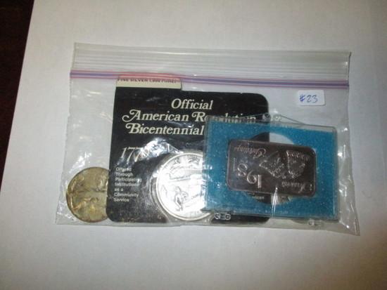 Misc. Silver No Date Walker Halves (2) Bicentennial Medal, 1981 Seasonal Gift