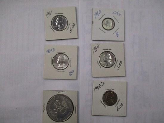 Misc. Silver Coins (3) 25 Cent, (1) 10 Cent, (1) War 5 Cent, (1) 25 Peso, 1968 Mexican Olympic Coin