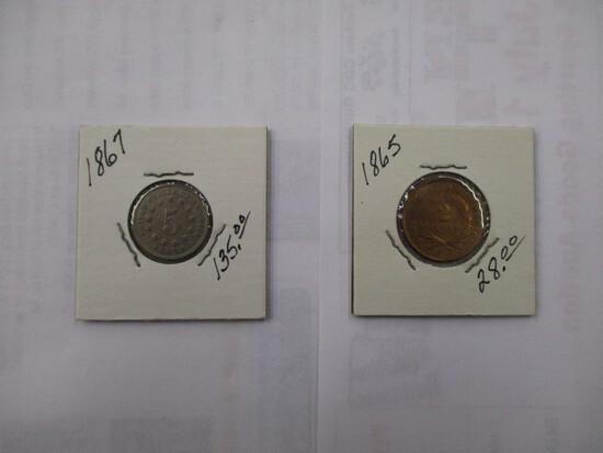 U.S. Coins 1865 2 Cent, very sharp, 1867 Shield 5 Cent very sharp