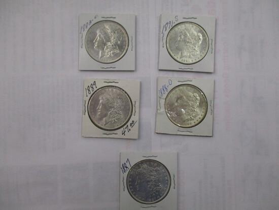 Morgan Silver Dollars all BU 1883O, 1887, 1888D, 1889, 1891S