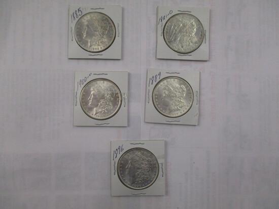 Morgan Silver Dollars all BU 1881O, 1885, 1889, 1889, 1896, 1900-O