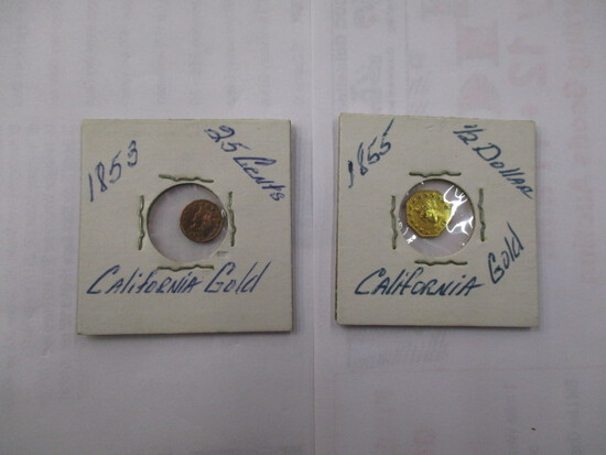 """California Gold Speciment Coins 1853 25 Cent, 1855 Half Dollar """"maybe fake"""""""