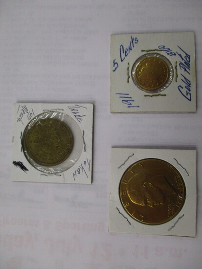 Misc. Coins Infamous Racketeer $5.00 gold 5 cent piece, 1911 Gold Plated, Gold Plated Ike Dollar & 1