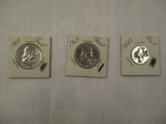 U.S. Proof Coins Franklin 50 cent 1959, 1963 Washington 25 cent 1968