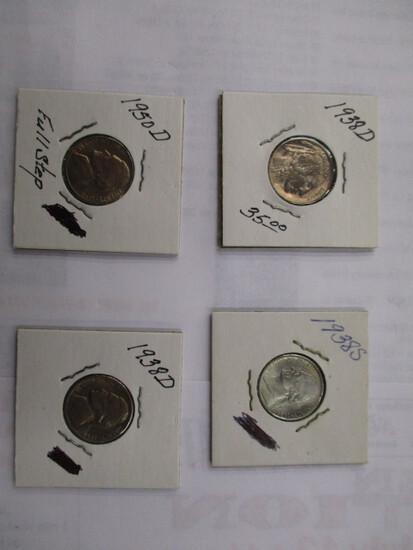 Key U.S. Jefferson 5 cent All UNC. Full Steps 1938D, (2) 1938S, 1950D