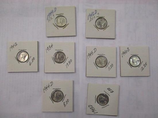 Mercury 10 cent all UNC. (full split bands) 1934, 1940S, 1942, 1942D, 1943D, 1944D, 1945D