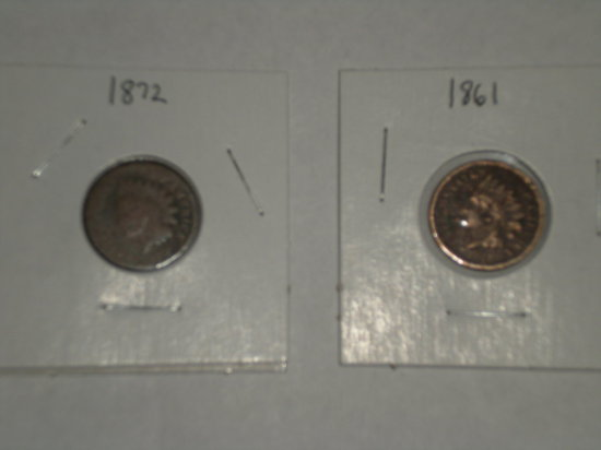 Rare date Indian cents 1861 & 1872