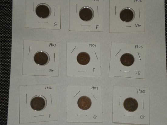 Indian Cents 1900-1908