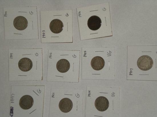 Liberty Head Nickels - 1897,1899, 1900 - 1907