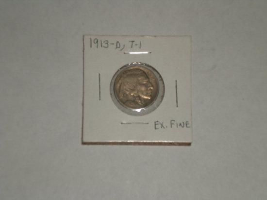 1913-D Type I Buffalo 5 Cent XF