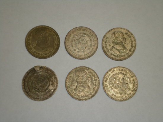 Mexican Peso's (large) some silver