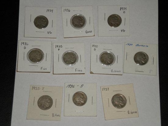 Buffalo Nickels 1930-1937 Mint Marks