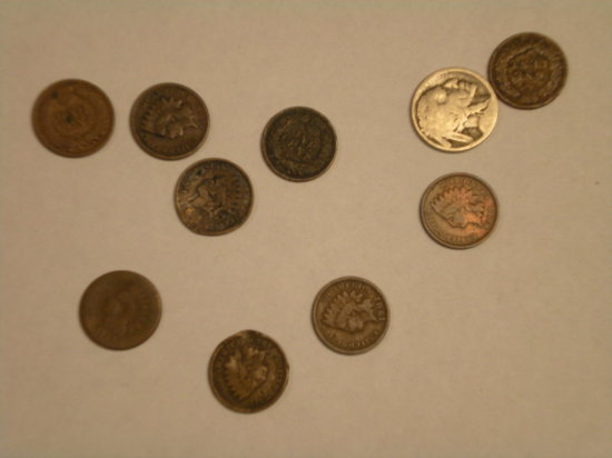 Misc. Older Coins 1cent -1889,1901,07,08, 5 Cull Indian cents, 1 no date buffalo
