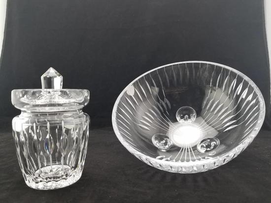 Kusak Bohemia Crystal Jam Jar & Footed Dish