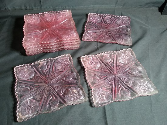 Collection 8 Antique Pink Depression Thistle Square Plates