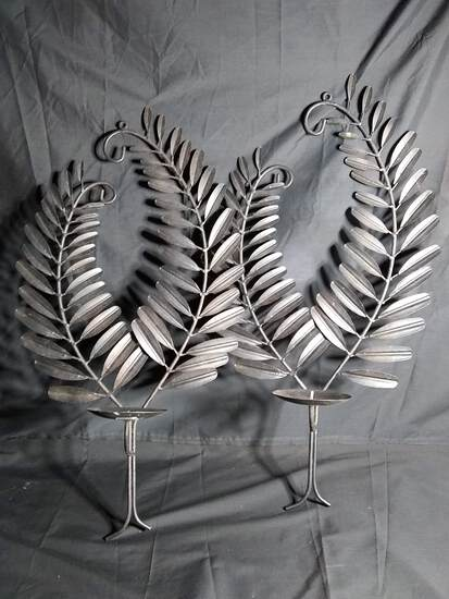 Contemporary Metal Fern Candle Sconces