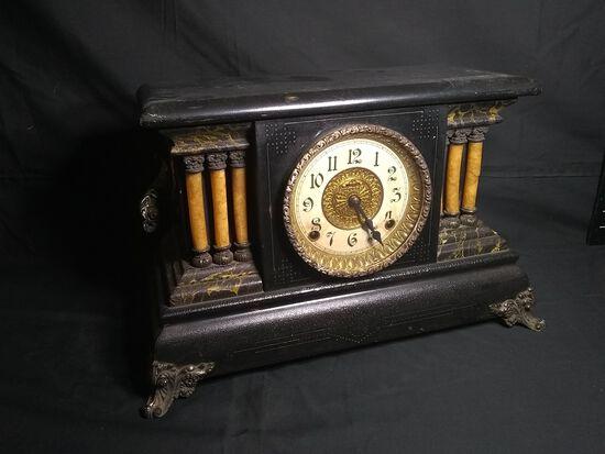Antique Column Mantle Clock with Decorative Handle