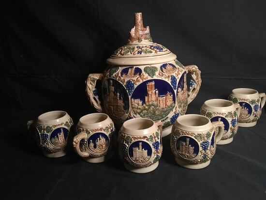 Antique German Pottery Lidded Punch Bowl with 6 Mugs