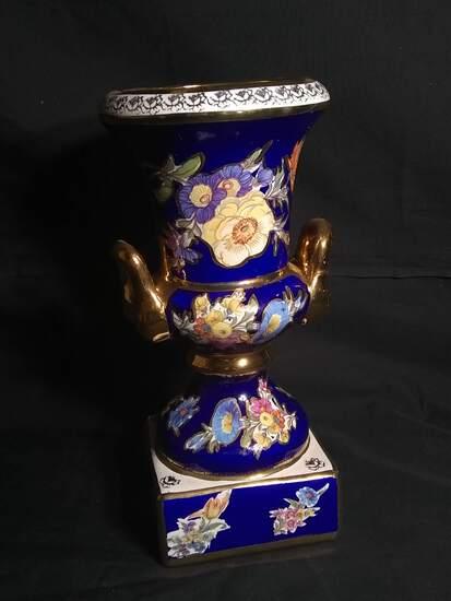 Antique Royal Porcelain Hand Decorated Double Handle Vase