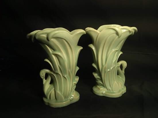Pair Vintage McCoy Swan Vases