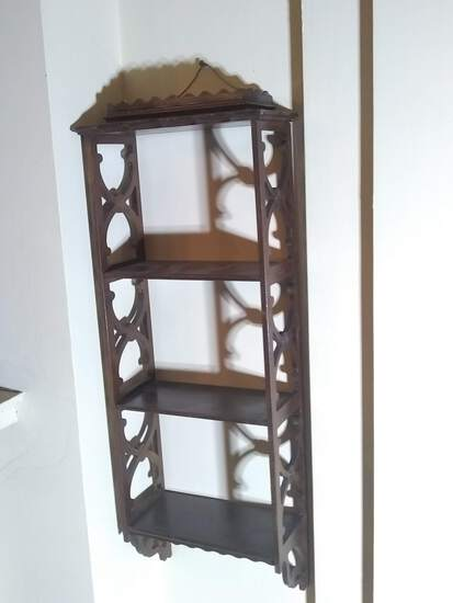 Antique Mahogany Chinese Chippendale 3 Tiered What Not Shelf
