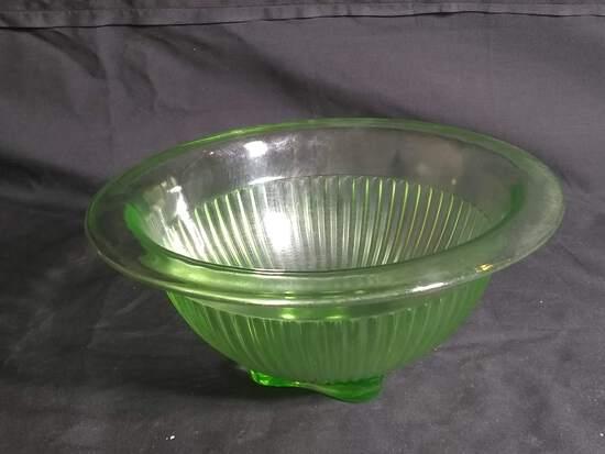 Vintage Green Vaseline Mixing Bowl