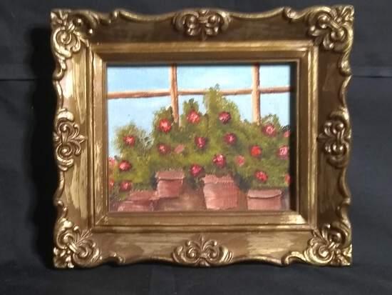 Miniature Framed Acrylic on Board-Flowers in Window