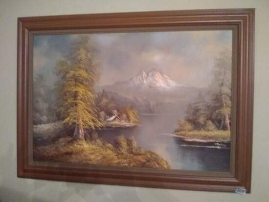 Framed Oil on Canvas-Cabin on the Lake-signed by Artist
