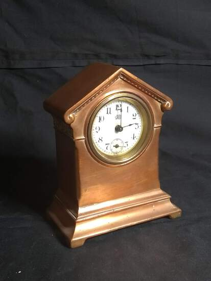 Antique Copper Thumb Wind Miniature Clock with Porcelain Dial