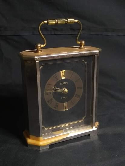 Contemporary Miniature Brass Elgin Quartz Clock
